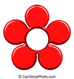 bloem, rood, 3d