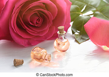 bloem, roos, oil., aromatherapy, spa, essentieel