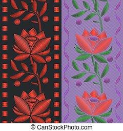 bloem, rozen, model, seamless, textiel, achtergrond., vector, lint, borduurwerk, illustraties, rood