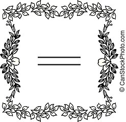 bloem, ruimte, text., frame, ornament, vector