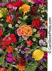 bloem schikking, in, heldere kleuren