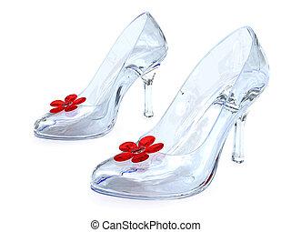 bloem, schoentjes, vrouwen, hoog, kristal, heels, rood