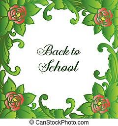 bloem, school., beauty, frame, roos, bladeren, behang, back, vector, groene, mal, ontwerp