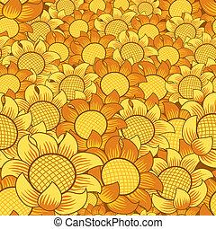 bloem, seamless, gele achtergrond, sinaasappel, het herhalen