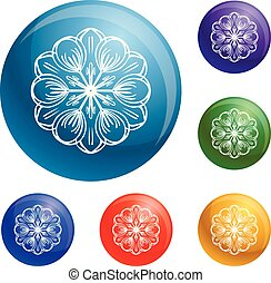 bloem, set, iconen, kruid, abstract, vector