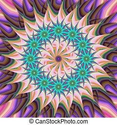 bloem, ster, kleurrijke, abstract, achtergrond, fractal