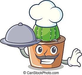 bloem, ster, voedingsmiddelen, pot, kok, cactus, spotprent