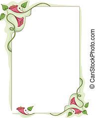 bloem, wijnstok, frame