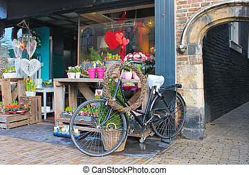 bloem winkel, in, gorinchem., nederland