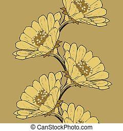 bloem, ziek, seamless, vector, achtergrond, hand-drawing., zinnia