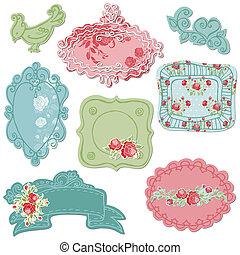 bloem, zoet, -, vector, doodle, lijstjes, vogels, communie