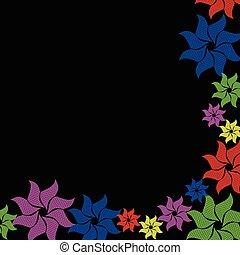 bloem, zwarte achtergrond, kleurrijke, barsten