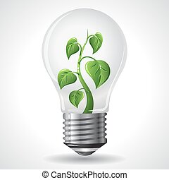 bloembollen, concept, besparing, macht, licht, energie, -, groene