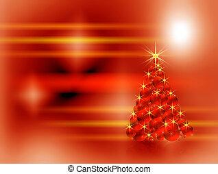 bloembollen, gemaakt, boompje, het fonkelen, versiering, kerstmis, rood