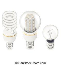 bloembollen, isometric, set, elektrisch licht, pictogram