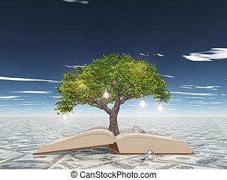 bloembollen, licht, boompje, usa valuta, boek, oppervlakte, open, grows, uit