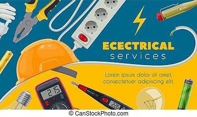 bloembollen, macht, elektrisch, tester, licht, energie, kabel