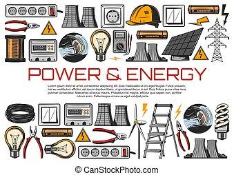bloembollen, stroom, licht, energie, meter, draad