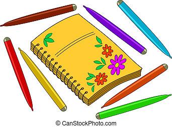 bloemen, aantekenboekje, pennen, felt-topen af