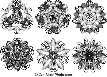 bloemen, abstract, vector, geometrisch