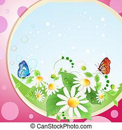 bloemen, achtergrond, met, vlinder