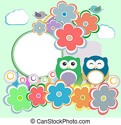 bloemen, achtergrond, uil, vogels