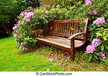 bloemen, bankje