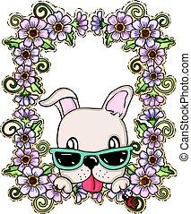 bloemen, begroetende kaart, dog