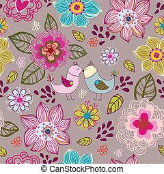 bloemen, birds., seamless, textuur
