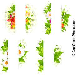 bloemen, bladeren, papier, verzameling, bossen