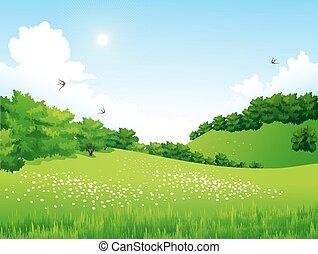bloemen, bomen, groene, wolken, landscape