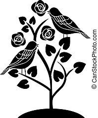 bloemen, boompje, vogels