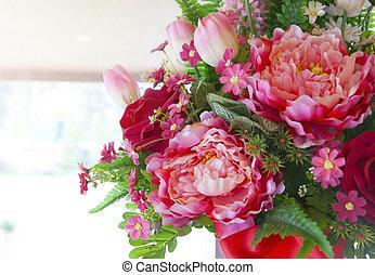 bloemen, bouquetten, regelen, voor, decorat