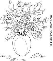 bloemen, contourlijnen, vaas