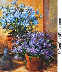 bloemen, en, kruik, stilleven