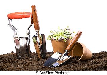 bloemen, en, tuinieren gereedschap