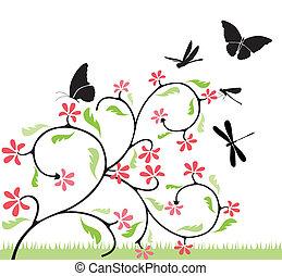 bloemen, en, vlinder