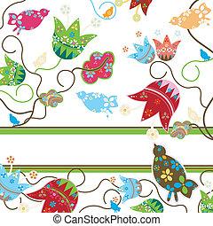 bloemen, en, vogels