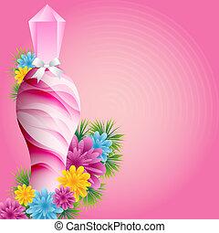 bloemen, fles, parfum