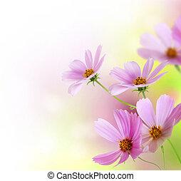 bloemen, floral, border., ontwerp, mooi