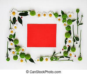 bloemen, frame, krans, papier, rood