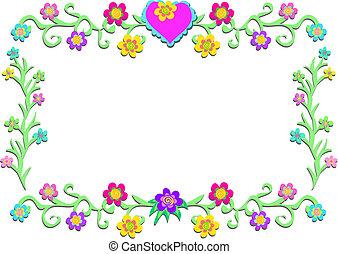bloemen, frame, wijngaarden, hart