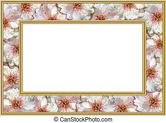 bloemen, frame, witte