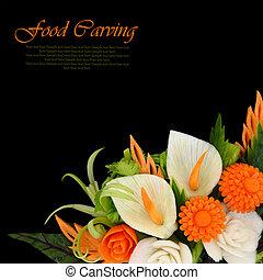 bloemen, gekerfde, van, fruit en groenten, op, zwarte...
