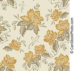 bloemen, gele achtergrond, seamless