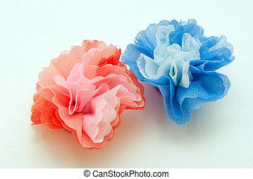 bloemen, gemaakt, van, papier, craftwork
