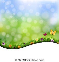 bloemen, gras, grens, achtergrond, natuur