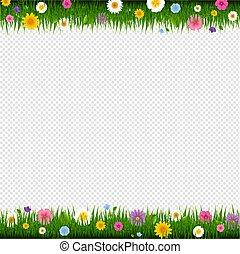 bloemen, gras, grens, transparant, achtergrond