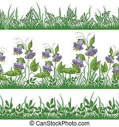 bloemen, gras, set, seamless