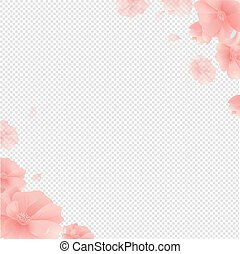 bloemen, grens, transparant, achtergrond